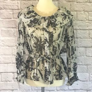 Vintage Ellen Tracy Black/gray silk blouse size 12
